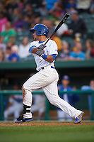 South Bend Cubs first baseman Gioskar Amaya (13) at bat during a game against the Cedar Rapids Kernels on June 5, 2015 at Four Winds Field in South Bend, Indiana.  South Bend defeated Cedar Rapids 9-4.  (Mike Janes/Four Seam Images)