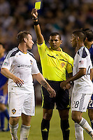 LA Galaxy midfielder Chris Birchall see's yellow from referee Yader Reyes. The Kansas City Wizards beat the LA Galaxy 2-0 at Home Depot Center stadium in Carson, California on Saturday August 28, 2010.