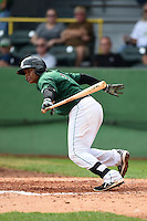 Clinton LumberKings second baseman Martin Peguero (7) at bat during a game against the Beloit Snappers on August 17, 2014 at Ashford University Field in Clinton, Iowa.  Clinton defeated Beloit 4-3.  (Mike Janes/Four Seam Images)
