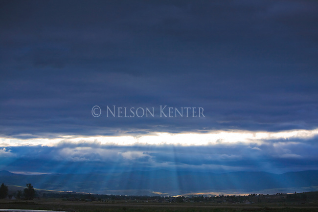 Clouds and sun rays at Florence, Montana