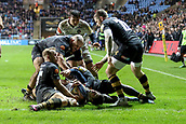 2nd December 2017, Rioch Arena, Coventry, England; Aviva Premiership rugby, Wasps versus Leicester; Jonah Holmes of Leicester Tigers close to the try line but just held up
