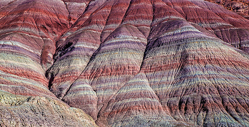 Vivid colors in horizontal lines are produced at the Paria Clay Beds at Grand Staircase Escalante National Monument in Southern Utah
