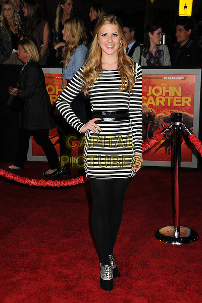 "Caroline Sunshine.""John Carter"" Los Angeles Premiere held at Regal Cinemas L.A. Live, Los Angeles, California, USA..February 22nd, 2012.full length top dress belt leggings striped stripes black .CAP/ADM/BP.©Byron Purvis/AdMedia/Capital Pictures."
