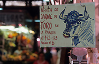 "Europe/Espagne/Catalogne/Barcelone : Marché ""La Boqueria"" - Enseigne viande de taureau"