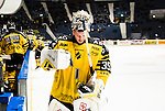 Stockholm 2014-11-16 Ishockey Hockeyallsvenskan AIK - IF Bj&ouml;rkl&ouml;ven :  <br /> AIK:s m&aring;lvakt Robin Rahm deppar under matchen mellan AIK och IF Bj&ouml;rkl&ouml;ven <br /> (Foto: Kenta J&ouml;nsson) Nyckelord:  AIK Gnaget Hockeyallsvenskan Allsvenskan Hovet Johanneshov Isstadion Bj&ouml;rkl&ouml;ven L&ouml;ven IFB depp besviken besvikelse sorg ledsen deppig nedst&auml;md uppgiven sad disappointment disappointed dejected