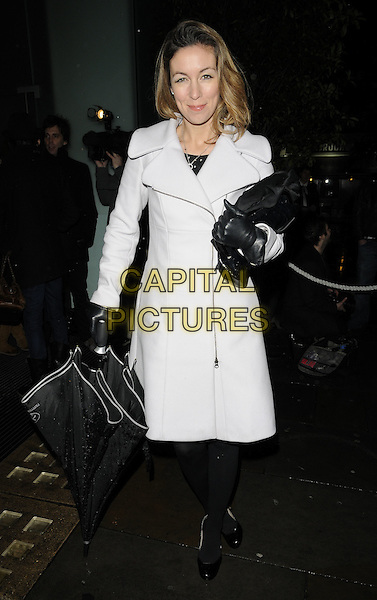 "EMMA CROSBY.""The Nutcracker"" English National Ballet's Christmas VIP Pre-Party at St Martins Hotel, London, England..December 16th 2009 .full length black tights umbrella gloves white cream grey gray coat.CAP/CAN.©Can Nguyen/Capital Pictures."