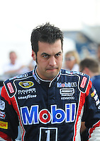 Oct 4, 2008; Talladega, AL, USA; NASCAR Sprint Cup Series driver Sam Hornish Jr during qualifying for the Amp Energy 500 at the Talladega Superspeedway. Mandatory Credit: Mark J. Rebilas-