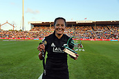 27th January 2019, Hamilton, New Zealand;  New Zealand Women captain Sarah Hirini seen with the trophy and the winner's medal after her team's win over France during the Day 2 of the Women's Fast Four Tournament 2019, FMG Stadium Waikato,Hamilton, Sunday 27th January 2019.
