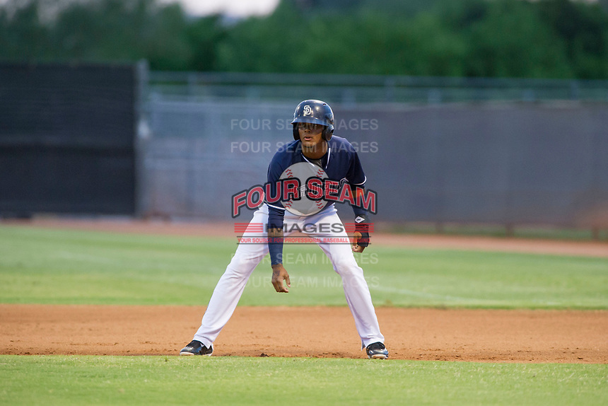 AZL Padres center fielder Jeisson Rosario (9) takes his lead off of first base against the AZL Indians on August 28, 2017 at the San Diego Padres Spring Training Complex in Peoria, Arizona. AZL Padres defeated the AZL Indians 7-4. (Zachary Lucy/Four Seam Images)