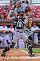 Kane County Cougars catcher Jose Queliz (18) during game one of a Midwest League doubleheader against the Wisconsin Timber Rattlers on June 23, 2017 at Fox Cities Stadium in Appleton, Wisconsin.  Kane County defeated Wisconsin 4-3. (Brad Krause/Krause Sports Photography)