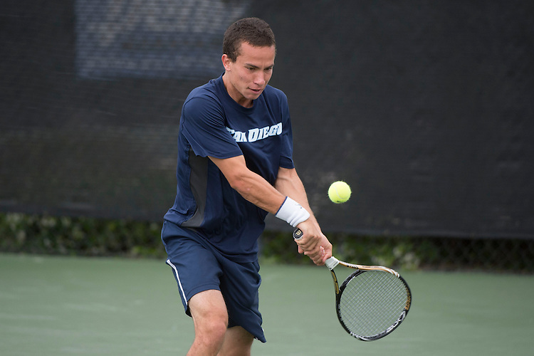 April 25, 2014; San Diego, CA, USA; San Diego Toreros player Uros Petronijevic during the WCC Tennis Championships at Barnes Tennis Center.