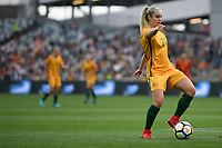 26 November 2017, Melbourne - ELLIE CARPENTER (21) of Australia runs with the ball during an international friendly match between the Australian Matildas and China PR at GMHBA Stadium in Geelong, Australia.. Australia won 5-1. Photo Sydney Low