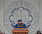 "May 17, 2015; Aaron Neville, a four-time Grammy Award winning singer and musician sings the ""Ave Maria"" after being awarded the Laetare Medal at the 2015 Commencement ceremony in Notre Dame Stadium. (Photo by Barbara Johnston/University of Notre Dame)"