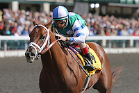 Winning Cause and John Velazquez win the 4th race, Maiden $50,000 for 2 year old colts.   October 18, 2012.
