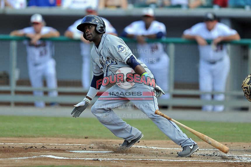 Mobile BayBears left fielder Justin Greene #11 swings at a pitch during a game against the Tennessee Smokies at Smokies Park on August 25, 2013 in Kodak, Tennessee. The BayBears won the game 2-0. (Tony Farlow/Four Seam Images)