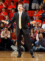 Maryland head coach Mark Turgeon reacts to a call during the game against Virginia Sunday in Charlottesville, VA. Photo/Andrew Shurtleff