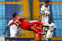 Sebastian Lletget (right) battles against Panama player. USA Men's Under 20 defeated Panama 2-0 at Estadio Mateo Flores in Guatemala City, Guatemala on April 2nd, 2011.