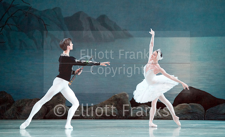 The Mariinsky Ballet Theatre<br /> at The Royal Opera House, Covent Garden, London, Great Britain <br /> Press photocall <br /> 27th July 2017 <br /> <br /> Music<br /> Pyotr Il&rsquo;yich Tchaikovsky<br /> <br /> <br /> Viktoria Tereshkina as <br /> Odette/Odile<br /> <br /> Xander Parish as <br /> Prince Siegfried<br /> <br /> <br /> Photograph by Elliott Franks <br /> Image licensed to Elliott Franks Photography Services