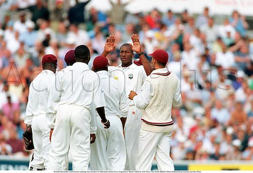 NIXON McLEAN celebrates taking the wicket of Michael Atherton, England v WEST INDIES, 5th Test, The Oval 000831 Photo:Matthew Clarke/Action Plus...2000.Cricket.Bowlers.celebration.celebrate.celebrating.celebrations.joy.celebrates