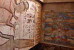 "Wall and ceiling between the First Court and the  Second Court at the mortuary temple of Ramses III at Medinet Habu at Thebes.Thebes was the ancient capital of Egypt and was built in and around modern day Luxor.The ancient name for Medinet Habu was Djamet meaning ""males and mothers."" Its holy ground was believed to be where the Ogdoad,the four pairs of primeval gods,were buried.Medinet Habu was both a temple and a complex of temples.Queen Hatshepsut who ruled Egypt from 1479-1458 BC  and Tuthmosis III who reigned from 1479-1425 BC built a small temple to Amun on the site of an earlier structure. Next to their temple, Ramses III who reigned from 1186-1155 BC built his mortuary temple.He then enclosed both structures within a massive mud-brick enclosure.The temple precinct measures about 700 feet by 1000 feet and contains more than 75,350 sq ft of decorated surfaces across its walls.It is the best preserved of all the mortuary temples of Thebes."
