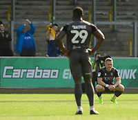 Lincoln City's Danny Rowe, right, and Lincoln City's John Akinde react after Carlisle United's Mike Jones scored the opening goal<br /> <br /> Photographer Chris Vaughan/CameraSport<br /> <br /> The EFL Sky Bet League Two - Carlisle United v Lincoln City - Friday 19th April 2019 - Brunton Park - Carlisle<br /> <br /> World Copyright © 2019 CameraSport. All rights reserved. 43 Linden Ave. Countesthorpe. Leicester. England. LE8 5PG - Tel: +44 (0) 116 277 4147 - admin@camerasport.com - www.camerasport.com