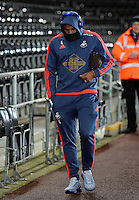 Ashley Williams of Swansea arrives before the Barclays Premier League match between Swansea City and Watford at the Liberty Stadium, Swansea on January 18 2016