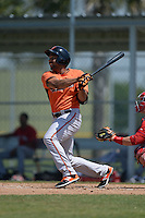 Baltimore Orioles Jamill Moquete (27) during a minor league spring training game against the Boston Red Sox on March 18, 2015 at the Buck O'Neil Complex in Sarasota, Florida.  (Mike Janes/Four Seam Images)