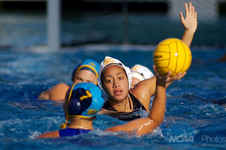 11 MAY 2008:  Jordan Anae (12) of USC defends against Courtney Mathewson (7) of UCLA during the Division I Women's Water Polo Championship held at the Avery Aquatic Center on the Stanford University Campus in Palo Alto, CA. UCLA beat USC with a score of 6-3. Don Feria/NCAA Photos.
