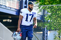 July 28, 2017: New England Patriots wide receiver Tony Washington (17) walks to the practice fields for the New England Patriots training camp held at Gillette Stadium, in Foxborough, Massachusetts. Eric Canha/CSM