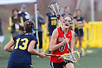 Santa Barbara, CA 02/18/12 - Lisa Riondet (Georgia #8) in action during the Georgia-Michigan matchup at the 2012 Santa Barbara Shootout.  Georgia defeated Michigan 12-10.