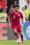 Akram Hassan Afif of Qatar in action during the AFC Asian Cup UAE 2019 Semi Finals match between Qatar (QAT) and United Arab Emirates (UAE) at Mohammed Bin Zaied Stadium  on 29 January 2019 in Abu Dhabi, United Arab Emirates. Photo by Marcio Rodrigo Machado / Power Sport Images