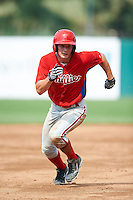 Thomas Milone #15 of Masuk High School in Monroe, Connecticut playing for the Philadelphia Phillies scout team during the East Coast Pro Showcase at Alliance Bank Stadium on August 2, 2012 in Syracuse, New York.  (Mike Janes/Four Seam Images)