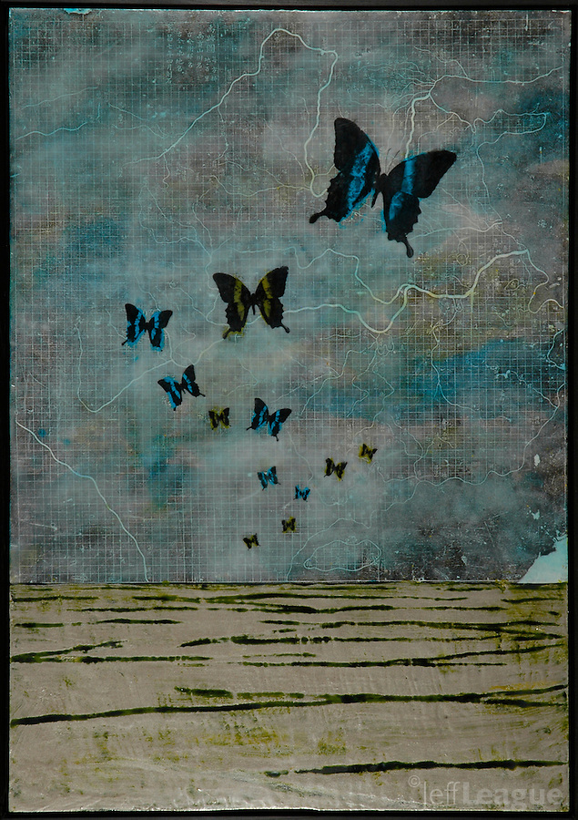 Butterflies in blue over antique map of china encaustic painting with photography and metal leaf