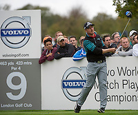 18.10.2014. The London Golf Club, Ash, England. The Volvo World Match Play Golf Championship.  Day 4 quarter final matches.  Jonas Blixt [SWE] ninth tee.