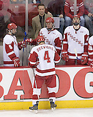 Wisconsin waits for the penalty announcement - Jeff Likens 5, Mark Osiecki, Joe Piskula 7, Davis Drewiske 4 and John Mitchell 10. The Boston College Eagles defeated the University of Wisconsin Badgers 3-0 on Friday, October 27, 2006, at the Kohl Center in Madison, Wisconsin in their first meeting since the 2006 Frozen Four Final which Wisconsin won 2-1 to take the national championship.<br />