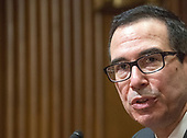 United States Secretary of the Treasury Steven Mnuchin testifies before the United States Senate Committee on Finance on the President's Fiscal Year 2019 budget on Capitol Hill in Washington, DC on Wednesday, February 14, 2018.<br /> Credit: Ron Sachs / CNP