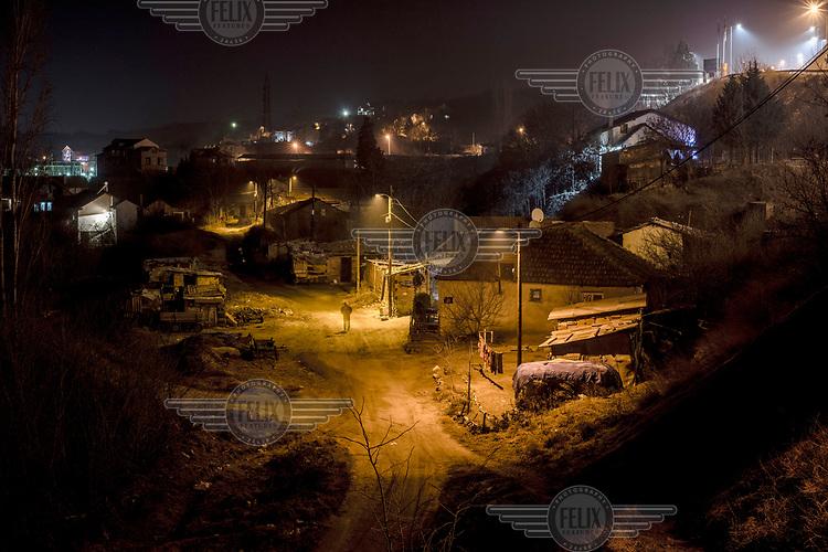 Street lights illuminate Veles at night