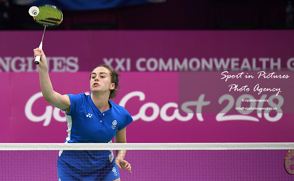 Eleanor O'DONNELL (SCO) smashes in the womens doubles. Badminton. Mixed team event. XXI Commonwealth games. Carrara Sports hall 2. Gold Coast 2018. Queensland. Australia. 05/04/2018. ~ MANDATORY CREDIT Garry Bowden/SIPPA - NO UNAUTHORISED USE - +44 7837 394578