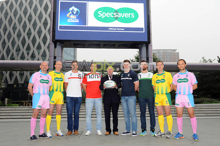 "Picture by Simon Wilkinson/SWpix.com 25/09/2013 - Rugby League World Cup 2013 - Specsavers sponsorship of rlwc 2013 World Cup - see story - ""Really should have gone to Specsavers"" Referees left to right Thierry Albert, Tim Roby, Phil Bentham and Ben Thaler"
