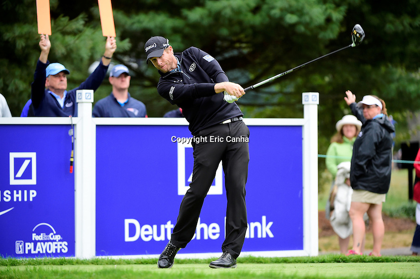Monday, September 5, 2016:  David Hearn of Canada drives his ball from the 6th tee box during the final round of the Deutsche Bank Championship tournament held at the Tournament Players Club, in Norton, Massachusetts.  Rory McIlroy of Northern Ireland wins the Deutsche Bank Championship with a final tournament score of -15 269.   Eric Canha/Cal Sport Media
