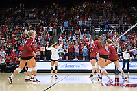 STANFORD, CA - September 9, 2018: Morgan Hentz, Kathryn Plummer, Meghan McClure, Audriana Fitzmorris, Holly Campbell at Maples Pavilion. The Stanford Cardinal defeated #1 ranked Minnesota 3-1 in the Big Ten / PAC-12 Challenge.