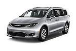 2017 Chrysler Pacifica-Hybrid Platinum 5 Door Minivan Angular Front stock photos of front three quarter view