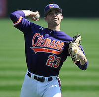 Pitcher Justin Sarratt (23) of the Clemson Tigers in a game against the Michigan State Spartans on Sunday, Feb. 27, 2011, at Fluor Field in Greenville, S.C. Photo by Tom Priddy/Four Seam Images