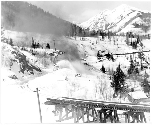 RGS rotary #2 bucking snow toward Bridge 45-B at Ophir.<br /> RGS  Ophir, CO