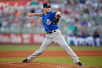 Biloxi Shuckers relief pitcher Justin Topa (28) during a Southern League game against the Pensacola Blue Wahoos on May 3, 2019 at Admiral Fetterman Field in Pensacola, Florida.  Pensacola defeated Biloxi 10-8.  (Mike Janes/Four Seam Images)
