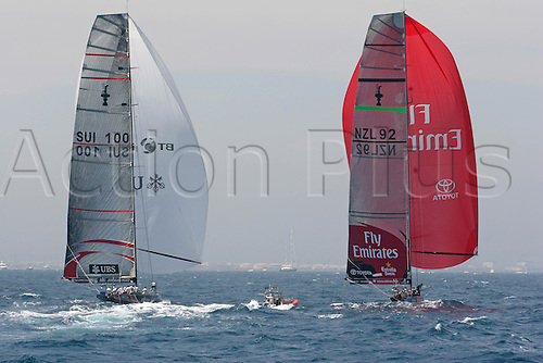 3 July 2007: Race action from the final race, the holders, team Alinghi from Switzerland defeat Emirates Team New Zealand in race seven for America's Cup. Photo: Ingrid Abery/action plus...sailing yachting yacht boat racing 070703 swiss switzerland