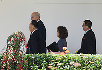 White House Chief of Staff John Kelly walks along the Colonnade toward the Oval Office with Kim Yong Chol, former North Korean military intelligence chief and one of leader Kim Jong Un's closest aides, as he arrives at the White House in Washington on Friday, June 1, 2018. <br /> CAP/MPI/RS<br /> &copy;RS/MPI/Capital Pictures