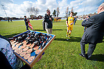 Lowestoft Town 2 Barrow 3, 25/04/2015. Crown Meadow, Conference North. Barrow make the six-hour trip to Suffolk needing a win to secure the title. League champions medals await the Barrow players and staff. Photo by Simon Gill.