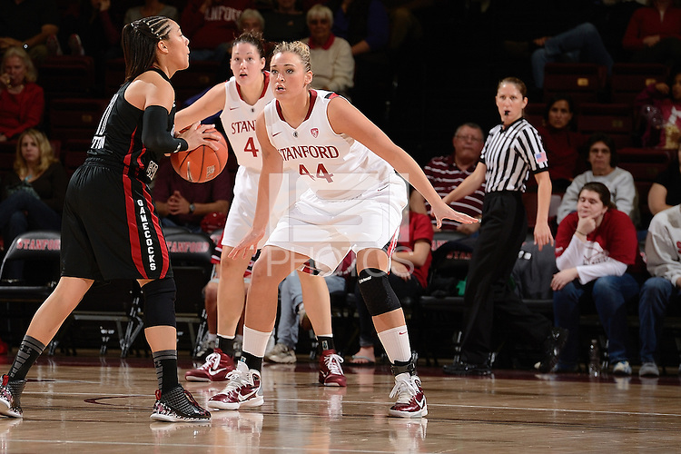 STANFORD, CA - NOVEMBER 26: Joslyn Tinkle of Stanford women's basketball on defense in a game against South Carolina on November 26, 2010 at Maples Pavilion in Stanford, California.  Stanford topped South Carolina, 70-32.