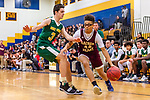 WATERBURY, CT. 09 December 2018-120918 Sacred Heart guard Trevahn Duncan #44 drives the baseline against Holy Cross' Arthur Pappas #3 during the annual Waterbury Boys Basketball Jamboree at Kennedy High School in Waterbury on Sunday. Bill Shettle Republican-American